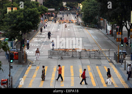Hong Kong, CHINA. 9th Oct, 2014. A small group of pro-democracy activists continue to shut down important thoroughfares - Stock Photo