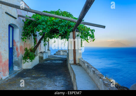 A typical house in Alcudi with a beautiful sea view - Stock Photo