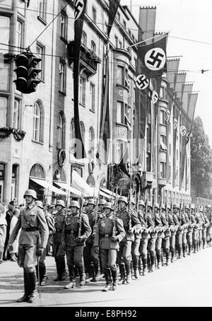 Nuremberg Rally 1938 in Nuremberg, Germany - marching up of the German Wehrmacht (armed forces) in front of the - Stock Photo