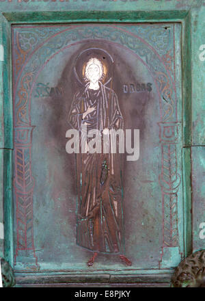 Holy Amalfi Cathedral, old, door, taly. 9th-century Roman Catholic structure. It is dedicated to the Apostle Saint - Stock Photo