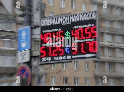 Moscow, Russia. 13th Oct, 2014. An information board with currency exchange rates in a street of Moscow. Credit: - Stock Photo