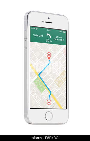 Bottom up view of rotated at a slight angle white modern mobile smart phone with map gps navigation app with planned - Stock Photo