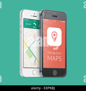 Black and white smartphones with map gps navigation application with planned route on the screen on green. High - Stock Photo