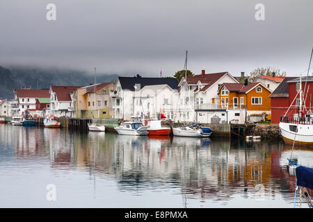 Fishing village Henningsvaer in Lofoten islands, norway - Stock Photo