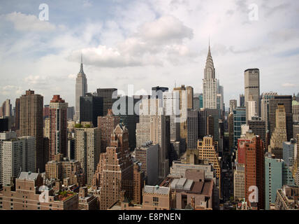 A view of the New York City borough Manhattan pictured on 24 September 2014. On the left, the Empire State Building - Stock Photo