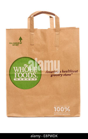Whole Foods Market Paper Recyclable Grocery Bag - Stock Photo