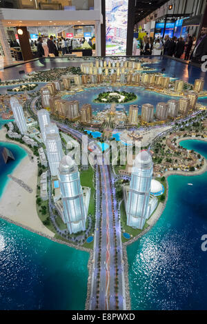 Model of new luxury residential property developments at The Pearl-Qatar in Doha at property trade fair in Dubai - Stock Photo