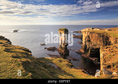 Yesnaby Castle Sea Stack on Mainland Orkney - Stock Photo