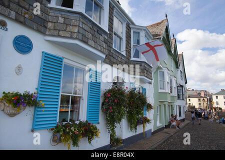 Plaque commemorating Sir Humphrey Gilbert, outside his home on Bayard's Cove Quay, Dartmouth, Devon, England, UK - Stock Photo