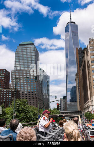 The distinctive skyline of Lower Manhattan, New York City - USA - Stock Photo