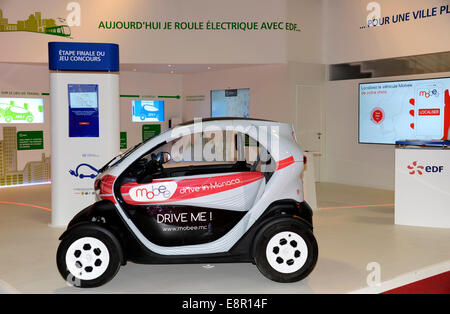 mobee.mc,Renault Twizy,electric car for rent in Monaco,Paris Motor Show,France - Stock Photo