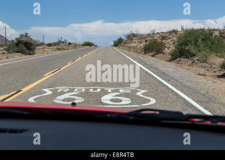 On the route 66 in Arizona, view from car, USA - Stock Photo