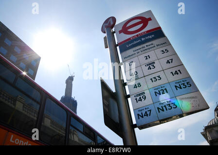 London Bridge bus stop, London UK - Stock Photo