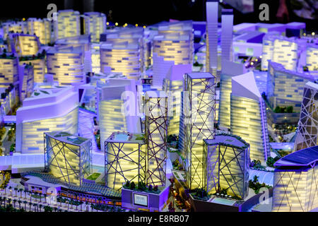 Model of proposed new luxury shopping and hotel property development at Mall of the World by developer Dubai Holding - Stock Photo