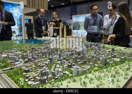 Model of new property development at  Dubai Creek Harbour by developer Emaar  at property trade fair in Dubai United - Stock Photo