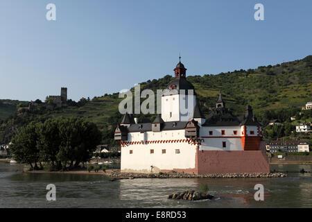 Pfalzgrafenstein Castle on the River Rhine in Germany. - Stock Photo