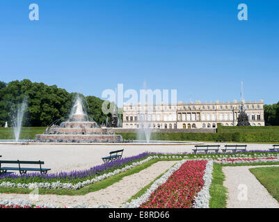 The western facade (Gartenfassade) of Herrenchiemsee Palace, located on an island in lake Chiemsee, Bavaria, Germany. - Stock Photo