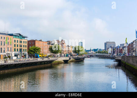 River Liffey from Grattan Bridge, Dublin City, Republic of Ireland - Stock Photo