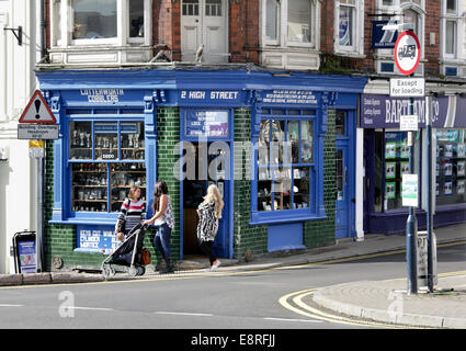 Traditional locksmith and cobblers shop, High Street, Lutterworth, Leicestershire. - Stock Photo