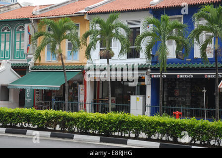 Traditional shop houses on Tanjong Pagar, Singapore - Stock Photo