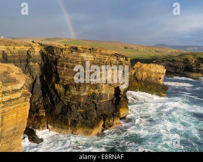The Cliffs of Yesnaby in Orkney, during stormy weather and sunset, Orkney islands, Scotland. - Stock Photo