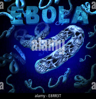 Ebola outbreak danger as a deadly virus disease medical concept with death skull symbols representing dangerous - Stock Photo