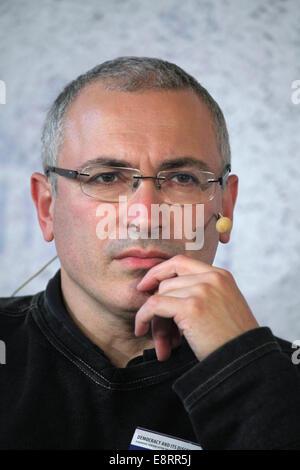 Prague, Czech Republic. 13th October 2014. Russian former oil tycoon and political prisoner Mikhail Khodorkovsky - Stock Photo