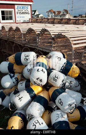 Lobster Buoys / Floats - North Rustico Harbour - North Rustico, Prince Edward Island, Canada - Stock Photo