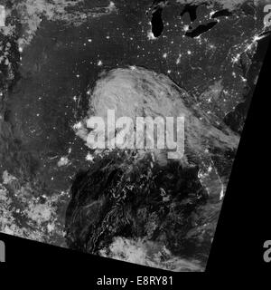 NASA image acquired August 31, 2012  This satellite image shows Tropical Depression Isaac as it moved from the Gulf - Stock Photo