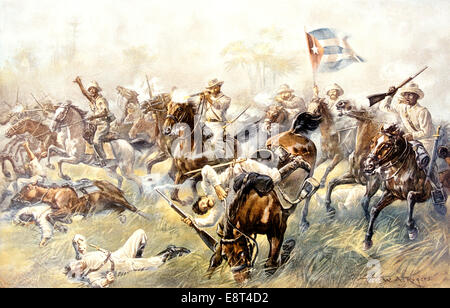 1898 THE BATTLE OF DESMAYO THE CUBAN BALACLAVA SPANISH AMERICAN WAR CAVALRY CHARGE - Stock Photo