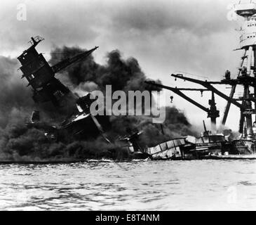1940s DECEMBER 7 1941 DAY OF INFAMY BATTLESHIP USS ARIZONA IN PEARL HARBOR HI AFTER SURPRISE ATTACK BY JAPANESE - Stock Photo