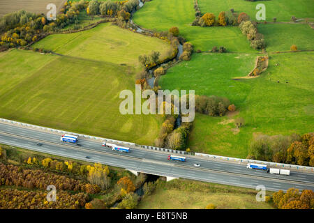 Aerial view, A2 motorway bridge over the Ahse River, nature reserve, Hamm, Ruhr area, North Rhine-Westphalia, Germany - Stock Photo