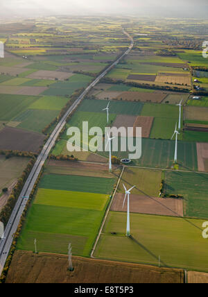 Aerial view, cultivated landscape with wind turbines, near Ense, North Rhine-Westphalia, Germany - Stock Photo