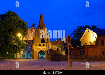 Kreuztor gate in front of the tower of the Minister to our Dear and Beautiful Lady, Ingolstadt, Upper Bavaria, Bavaria, - Stock Photo
