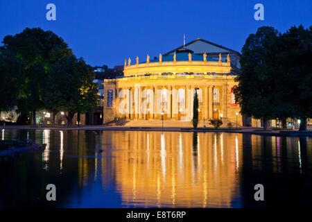 Opera House, Staatstheater, Stuttgart State Theatre, in Schlossgarten park at night, Stuttgart, Baden-Württemberg, - Stock Photo