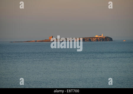 Inner Farne Lighthouse, Inner Farne, Farne Islands, Bamburgh, Northumberland, England, United Kingdom - Stock Photo