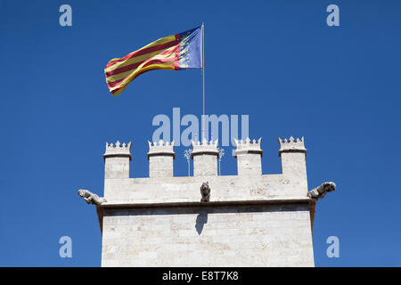 Tower of the Silk Exchange, Lonja de la Seda, Valencia, Spain - Stock Photo