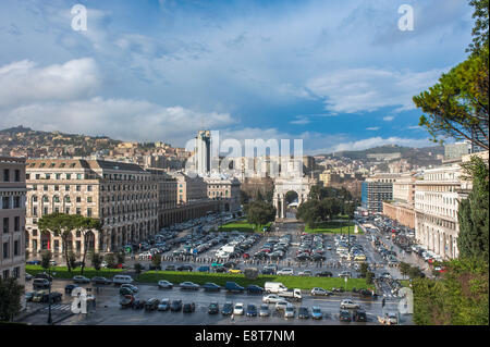 Triumphal Arch, architecture in Italian fascism under Mussolini, Piazza della Vittoria, Genoa, Liguria, Italy - Stock Photo