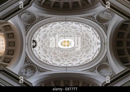 Dome, church of San Carlo alle Quattro Fontane or Church of San Carolino, Rome, Lazio, Italy - Stock Photo