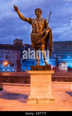 Statue of emperor Caesar Augustus, bronze statue on the Via Dei Fori Imperiali in front of the Augustus Forum, Rome, - Stock Photo