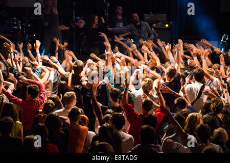 Fans hands in the air during a live concert - Stock Photo