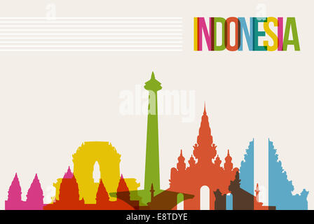 Travel Indonesia famous landmarks skyline multicolored design background. Transparency vector organized in layers - Stock Photo