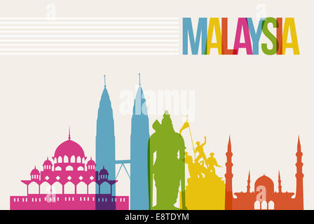 Travel Malaysia famous landmarks skyline multicolored design background. Transparency vector organized in layers - Stock Photo