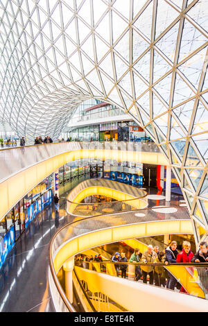 FRANKFURT, GERMANY - MARCH 1, 2014: Architectural features of the MyZeil shopping mall in Frankfurt. The famous - Stock Photo