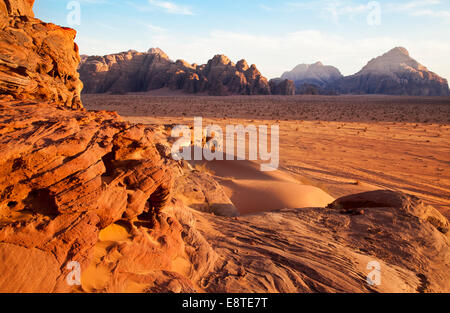 Wadi Rum or Valley of the Moon in Jordan - Stock Photo