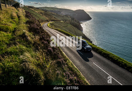 Driving along the scenic A39 coastal road one of the best drives in the South West, UK - Stock Photo