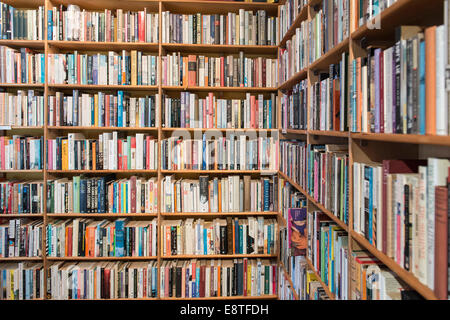 shelves in a second hand book shop filled with books and more books on display - Stock Photo