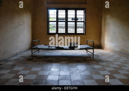 a prison cell / torture chamber from the killing fields, mass genocide in cambodia in the 1970s - Stock Photo