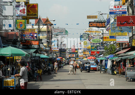 panoramic travel photo of the koh san road in bangkok thailand where all the back packers stay on their travels - Stock Photo