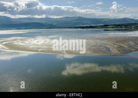 View across the estuary of the River Dwyryd, Portmeirion, North Wales, 7th September 2014. - Stock Photo
